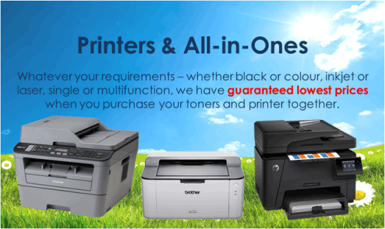 Whatever your requirements – whether black or colour, inkjet or laser, single or multifunction, we have guaranteed lowest prices when you purchase your toners and printer together.