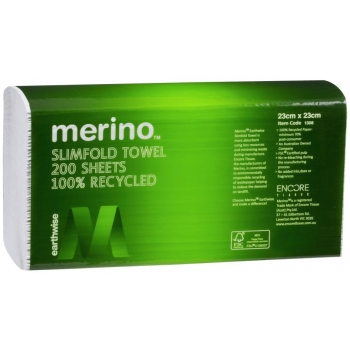 MERINO SLIMFOLD HAND TOWEL 23X23CM 200 SHEET 100% RECYCLED