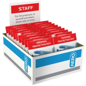 60 x Staff Personal Protection Pack Includes Face Masks Gloves and Alcohol Wipes (Carton of 60)