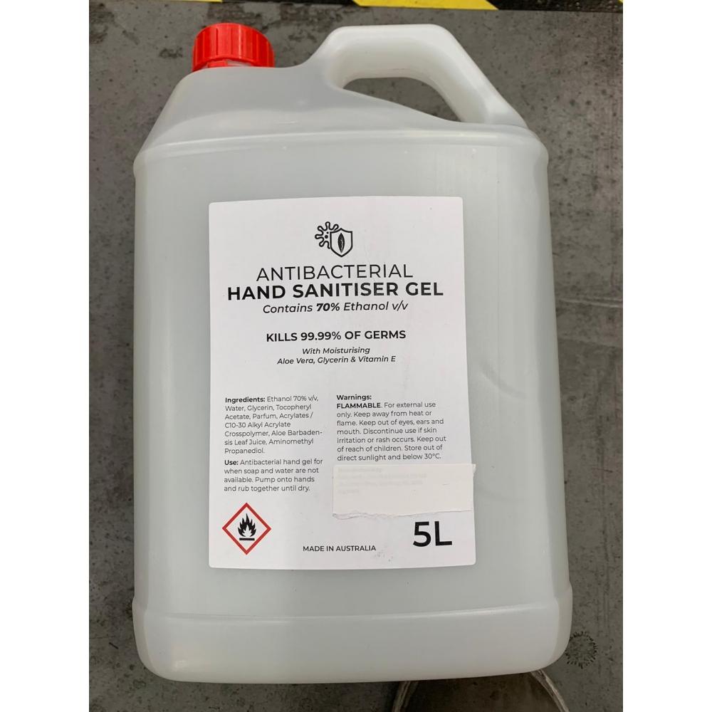 3 Bottles of 5L Alcoholic Instant Hand Sanitiser Gel Antibacterial Disinfectant Liquid 75% Alcohol (Carton of 3)