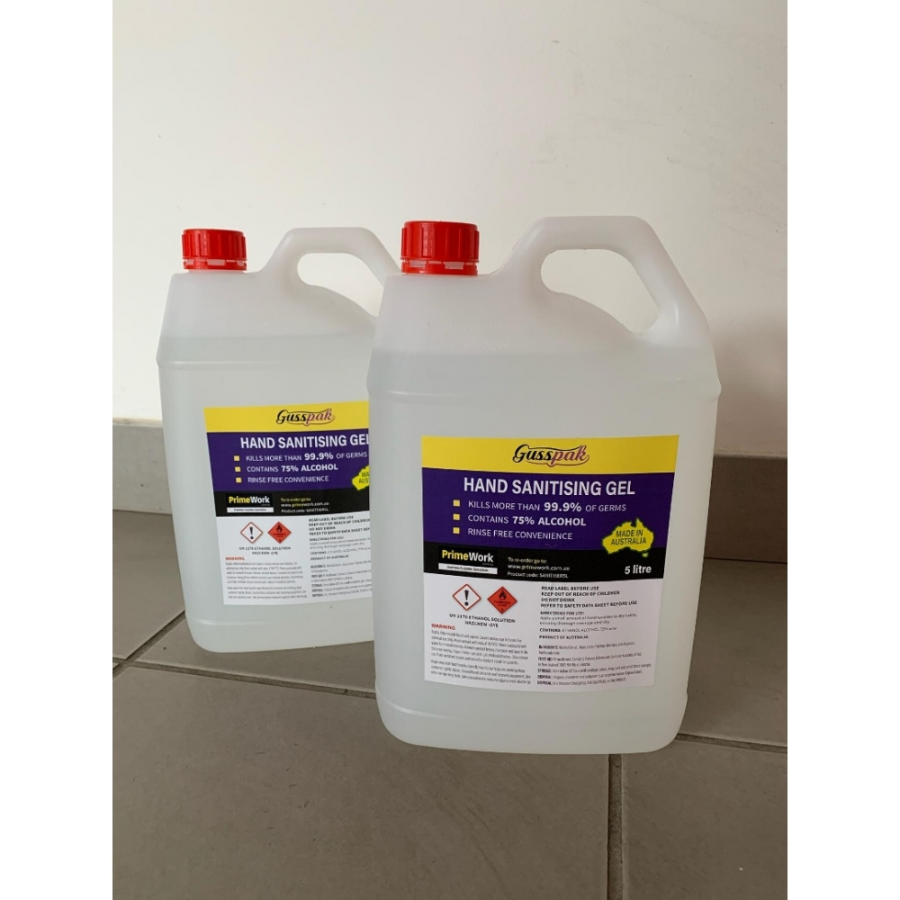 3 Bottles of 5L Alcoholic Instant Hand Sanitiser Gel Antibacterial Disinfectant Liquid 75% Alcohol (Carton of 3)