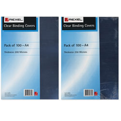REXEL BINDING COVER 250 MICRON CLEAR A4 PK100