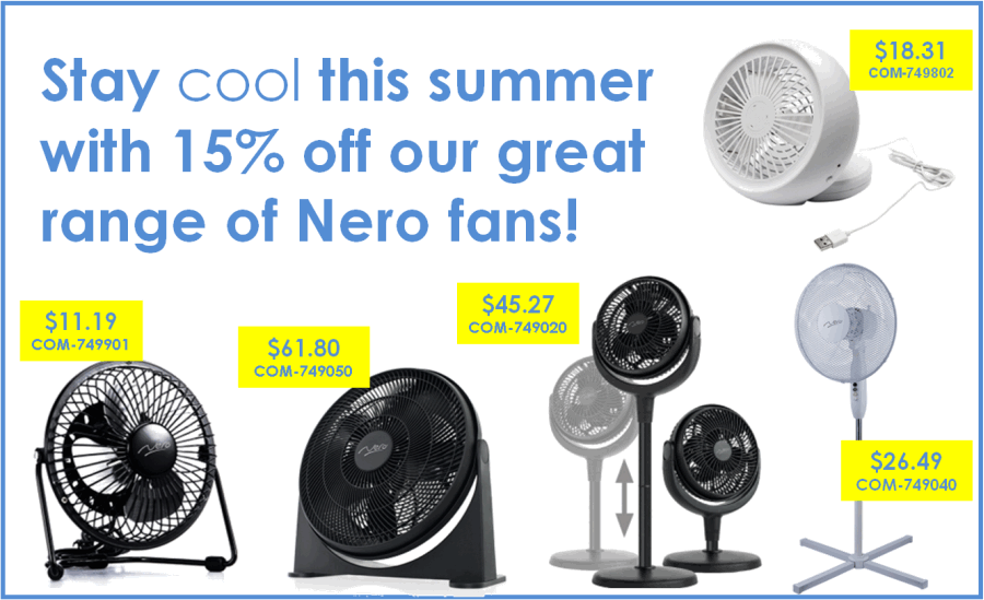 Stay cool this summer with 15% off our great range of Nero fans!.