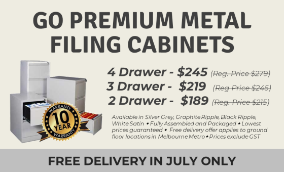 GO PREMIUM METAL FILING CABINETS. FREE DELIVERY IN JULY ONLY