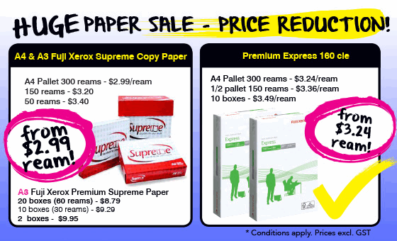 Huge Paper Sale - Price Reduction! From $2.99 a ream.